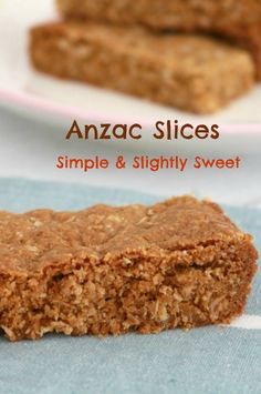 ANZAC Slices - Like the biscuits popular in Australia, but in the form of slices. Easy to make & slightly sweet. Think Aussie biscotti Baking Recipes, Cookie Recipes, Chocolate Slice, Sweet Recipes, Yummy Recipes, Lunch Box Recipes, Thinking Day, Vegan Cake, Thermomix