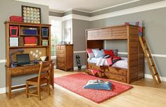 Logan County Twin Bunk Bed In Distress And Burnished Pine