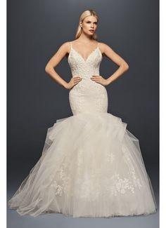 David's Bridal Truly Zac Posen Plunging Trumpet Wedding Dress ZP341708 $1,258 - $1,358