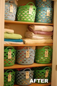 Baskets and Labels Dollar Store Organization Ideas #organization #home