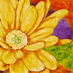 faux vitrail Fleur Jaune