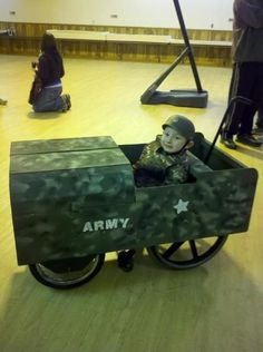 We transformed my brothers wheelchair in a army jeep so he could have a Halloween costume that fits his persona- a solider.  From my family: please pass this ok to share his story with the world!