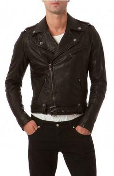 Pierre Balmain men's leather biker jacket