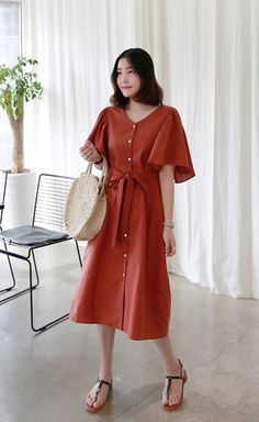 Get this look: http://lb.nu/look/8793049  More looks by Miamiyu K: http://lb.nu/miamiyu  Items in this look:  Miamasvin Angel Sleeve Button Front Dress, Miamasvin T Strap Low Heel Sandals   #summerfashion #koreanfashion #chic #streetstyle