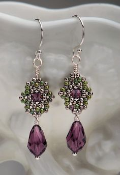 Beadwoven Drop Earrings / Amethyst Swarovski by littlemusedesigns, $34.00