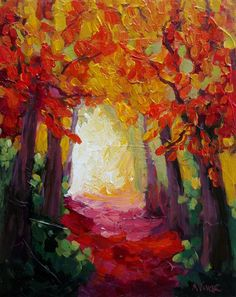 Abstract Impressionist Autumn Trees and Leaves by MonaVivarFineArt