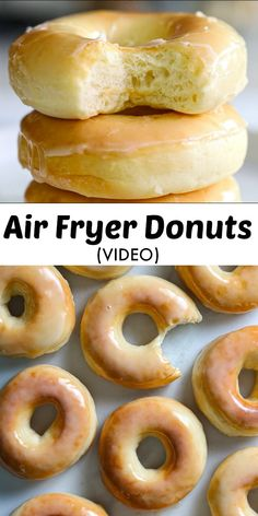 These Glazed Air Fryer Donuts (from scratch) are the perfect thing for your sweet tooth. Moist, fluffy, & light, they will melt in your mouth. #airfryerdonutrecipe #glazeddonutrecipe #glazedairfryerdonutrecipe #airfryerglazeddonutrecipe