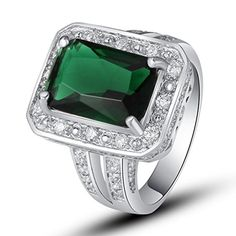 LingMei 10mm*14mm Emerald Cut Emerald Quartz 925 Sterling Silver filled Ring Size 7 LingMei