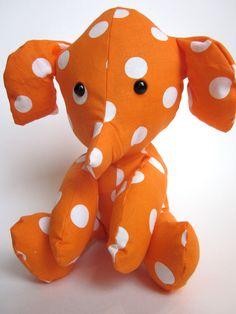Stuffed Animal Elephant Plush Toy Baby Nursery Decor Orange White Dot Modern from CoffeeCountyCrochet on Etsy. Sewing Toys, Baby Sewing, Elephant Love, Baby Nursery Decor, Stuffed Toys Patterns, Diy Toys, Handmade Toys, Dinosaur Stuffed Animal, Stuffed Elephant