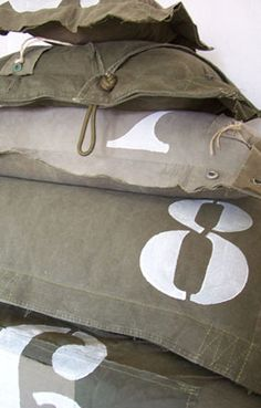 Love these army surplus inspired pillows! Cute for my boys room