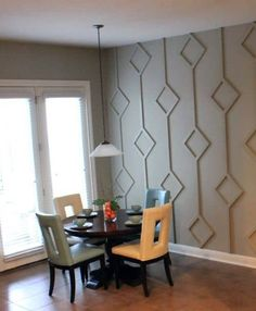 Black Wallpaper Accent Wall before & after: dining nook diamond wall design Think outside the box when considering an accent wall. Try this treatment for a unique focal point. Gray Striped Walls, Black Accent Walls, Accent Walls In Living Room, Accent Wall Bedroom, Master Bedroom, Wall Accents, Diamond Wall, Dining Nook, Home Depot