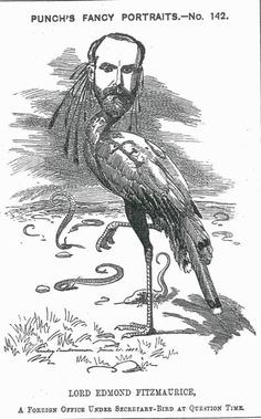 PETTY-FITZMAURICE, Edmond George, Baron Fitzmaurice (1846-1935)  statesman and historian; Under Secretary of State for Foreign Affairs    Caption: A Foreign Under Secretary-Bird at Question Time  Depicted as a stork on one leg  Vol. 84, 30 June 1883, p.310 #Victorian #Cartoon #Punch #Periodicals #Pen #Ink #Caricature