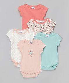 Another great find on #zulily! Sweet Beige & Teal Bodysuit Set - Infant by Peanut Buttons #zulilyfinds