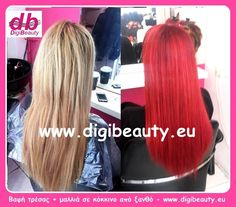 "Our client who had purchased and placed hair weft decided to change color from blonde to red. Note that care is needed when we dye hair and hair wefts together because they do not ""react"" always the same and you may not have a uniform effect. See more at www.digibeauty.eu"