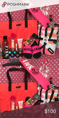 VS Pink HUGE beach bundle NEW VS Pink HUGE Beach Bundle💗 Large tote bag  Tie dye round towel 3 piece pink beauty products  Tie dye Crew socks Pink water bottle Beach kookie holds a six pack!  Pink slides sz small or medium  All items are new with tags or in package fantastic way to start the summer PINK Victoria's Secret Bags Totes