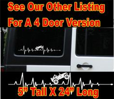 Jeep EKG heartbeat decals set of 2 choice by SmokyMountainDecals