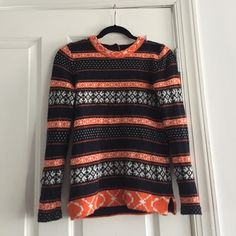 jcrew sweater super warm fun jcrew sweater. navy and orange J. Crew Sweaters Crew & Scoop Necks