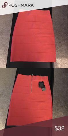 NWT Bebe coral bandage mini bodycon skirt Nwt bebe Skirts Mini