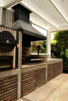 look and feel of outside grill including concrete and pergola and wood slats for undercounted storage Outdoor Oven, Outdoor Cooking, Outdoor Rooms, Outdoor Living, Outdoor Decor, Parrilla Exterior, Pergola, Outside Living, Backyard Patio