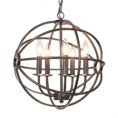 Benita 5-light Antique Bronze Metal Strap Globe Chandelier | Overstock.com Shopping - The Best Deals on Chandeliers & Pendants