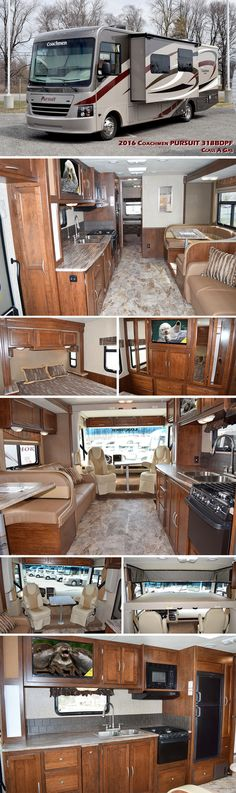 The all new 2016 PURSUIT Motorhome by Coachmen offers an abundance of counter and storage space along with stunning interiors to give you a home away from home. Step into this spacious coach an Luxury Motorhomes, Motorhomes For Sale, Trailers For Sale, Camper Caravan, Camper Trailers, Travel Trailers, Rv Floor Plans, Fleetwood Rv, Fifth Wheel Campers