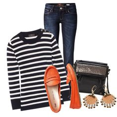 A fashion look from January 2014 featuring wool-blend sweater, boot-cut jeans and loafers moccasins. Browse and shop related looks. Moccasins Outfit, Loafers Outfit, Red Loafers, Leopard Loafers, Fall Outfits, Casual Outfits, Cute Outfits, Nautical Fashion, Classic Outfits