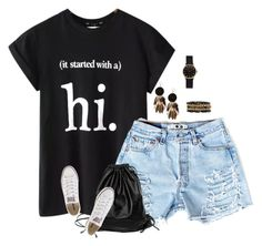 """It started at hi..."" by majezy ❤ liked on Polyvore featuring Chicnova Fashion, Xenab Lone, Converse, Boohoo, Ashley Pittman and Marc by Marc Jacobs"