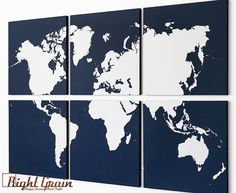 Large World Map Wall Art Screenprint Large by RightGrain on Etsy