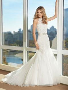 Mermaid High Neck Cheap Beading Chapel Train Tulle Wedding Dress