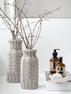DIY | Strickidee Vasenhüllen mit Zopfmuster selber stricken