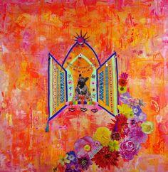 Sybil Kahlo, mixed media, by Clare Howell. Cardigan Art Society Named Art Club of the Year 2017 Art Society, Name Art, Art Club, Mixed Media, Names, Painting, Painting Art, Paintings, Painted Canvas
