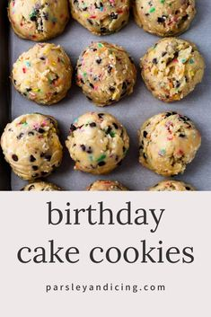 These Birthday Cake Cookies filled with sprinkles and chocolate chips are super fun and easy to make and eat! They're buttery, chewy and delicious! easy 3 ingredients easy for a crowd easy healthy easy party easy quick easy simple Birthday Cake Cookies, Dessert Drinks, Köstliche Desserts, Dessert Recipes, Healthy Desserts, Chocolate Chip Cookies, Chocolate Chips, Baking Recipes, Cookie Recipes