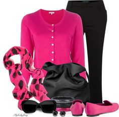 """""""Springing Black to Life with Pink"""" by stylesbyjoey ❤ liked on Polyvore"""