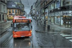 and the rain washes off all the traces | Stockholm, Sweden, bus, rain, transport