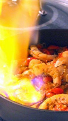 Flaming Shrimp - Gambas Flambes with Sambuca OH BOY FLAMING DISHES! It ...