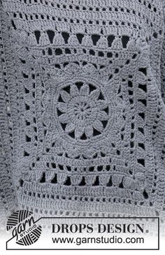 Magic Square / DROPS – Crochet jumper with crochet square and lace pattern. Sizes S – XXXL. The piece is worked in DROPS Nepal. Magic Square / DROPS – Crochet jumper with crochet square and lace pattern. Sizes S – XXXL. The piece is worked in DROPS Nepal. Crochet Motifs, Crochet Chart, Crochet Squares, Crochet Stitches, Free Crochet, Crochet Patterns, Point Granny Au Crochet, Poncho Au Crochet, Pull Crochet
