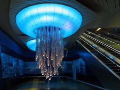 Dubai is known for its opulence, and its Khalid Bin Al Waleed Station is no exception. Massive chandeliers in the shapes of glowing jellyfish dangle from its ceilings to cast a blue glow over the station, which also holds images of traditional pearl divers.