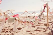 Awesome DIY for making a barrier for your wedding on a public beach. This is in Crystal Cove State Park in Laguna, CA