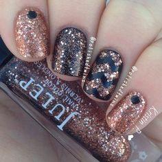 Copper Glitter Nail Design