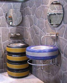 Painted tires as sink in bathroom