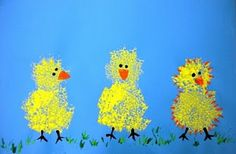 Great for Little Quack activity! Sponge-painted chicks. They look fuzzy like chicks are.