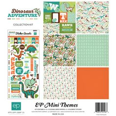 Echo Park Paper Company Dinosaur Collection Kit: This scrapbooking collection features 12 double-sided patterned papers perfect for documenting your memories. The kit also includes one alphabet sticker sheet and one element sticker sheet. Scrapbook Storage, Scrapbook Paper, Scrapbook Quotes, Alphabet Stickers, Echo Park Paper, Paper Companies, Party Favor Tags, Arts And Crafts Supplies, Papers Co