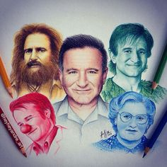An old tribute drawing I did for Robin Williams  Can you name these movies? :) by heyheyandre_art