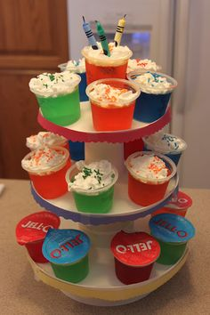 JELLO Cupcakes... for my son who is anti-birthday cake. Worked great with his Lego birthday party.