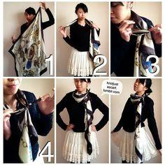 How to wear silk scarf around neck