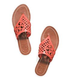 THATCHED PERFORATED THONG SANDAL 			 - POPPY CORAL
