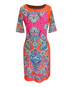 Love this Coral & Pink Paisley Shift Dress - Women by Bonmode on #zulily! #zulilyfinds