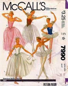 McCall's 7990; ©1982; American Ballet Theatre Costumes - Tutu in Five Styles: Ballet costumes have fitted, underlined bodice and Velcro back closing. Views A and B (mid-calf length) and C (below knee length) have gathered skirts and lower yokes with crotch elastic. A has shoulder straps and sleeves with elastic in casings. B has ruffled sleeves with elastic in shoulder casings and optional purchased flower trim. C has sleeves with elastic in shoulder and lower casings and cording trim. ...