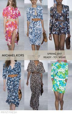 Spring 2017 Ready-to-wear Runway Print & Pattern Trends- Michael Kors Images: vogue.com graphic florals, vintage inspired florals, multi color florals, feminine vintage dresses