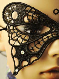 Jet Black Butterfly Mask by sillylittlefairy on Etsy